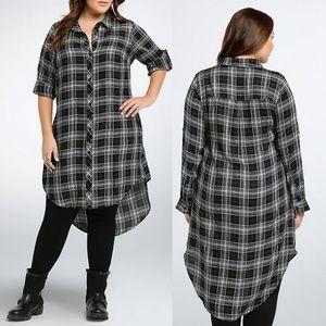 Torrid | Sheer Plaid Button Front Shirt Dress